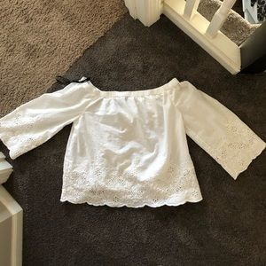 Forever 21 Embroidered Off the Shoulder Top